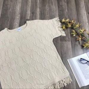 Vintage • Cream Cable Knit Fringe Sweater Top